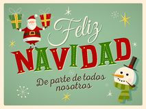 Vintage Style Christmas Card in Spanish. `Feliz Navidad de parte de todos nosotros`. Means `Merry Christmas From All of us`. Editable EPS10. For your print and royalty free illustration