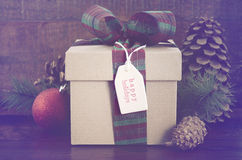 Vintage style Christmas Gift Stock Photo