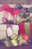Vintage style Christmas Gifts Stock Photography