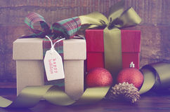 Vintage style Christmas Gifts Stock Photos