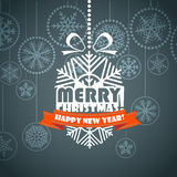 Vintage style Christmas greeting card. Merry Christmas and Hapy New Year Stock Illustration