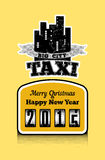 Vintage style Christmas poster for taxi. Vector illustration. Royalty Free Stock Photo