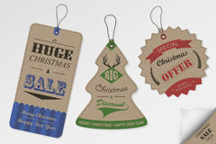 Vintage style Christmas sale tags design Royalty Free Stock Image