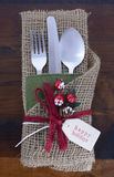 Vintage style Christmas Table Setting Stock Photo