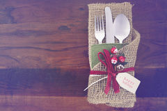 Vintage style Christmas Table Setting Royalty Free Stock Photography