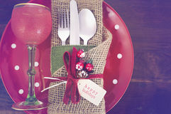 Vintage style Christmas Table Setting Stock Photography