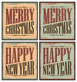 Vintage style Christmas tin signs. Or Christmas cards template - Merry Christmas and Happy New Year Stock Photos