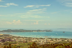 Vintage style city and sea of Phuket Island Stock Images