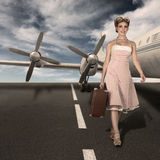 Vintage style classic stewardess portrait. Walking at runway against old airliner Stock Photos