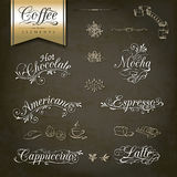 Vintage style Coffee menu designs. Calligraphic titles and symbols for Coffee menu and design Royalty Free Stock Images