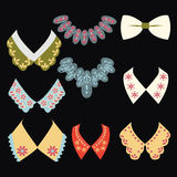 Vintage style collars on black background Royalty Free Stock Photography