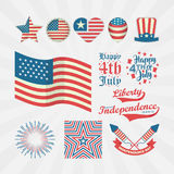Vintage style collection for USA Independence Day. Happy 4th of july. American Independence Day background Stock Photos