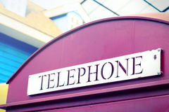 Vintage style color of British callbox. Stock Photos