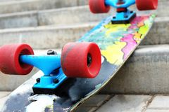 Vintage Style Colorful Skateboard on a stairs Stock Photography