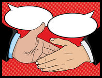 Vintage Style Comic book Handshake with Speech Bubbles Stock Images