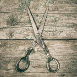 Vintage style composition with retro scissors Royalty Free Stock Image
