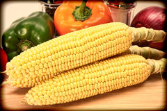 Vintage Style Corn and Vegetable Photograph Royalty Free Stock Image
