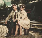 Vintage style couple Royalty Free Stock Photos