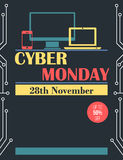 Vintage style Cyber Monday flyer and poster Royalty Free Stock Photo