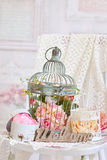 Vintage style decoration with flowers in old bird cages Royalty Free Stock Photos