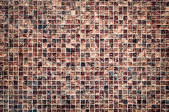 Vintage style design of brown mosaic tile texture wall Stock Photos