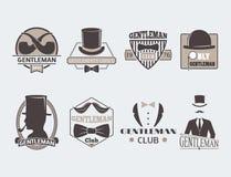 Vintage style design hipster gentleman vector illustration badge black silhouette element. Royalty Free Stock Photography