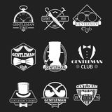 Vintage style design hipster gentleman vector illustration badge black silhouette element. Royalty Free Stock Photo