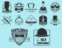 Vintage style design hipster gentleman vector illustration badge black silhouette element. Stock Photos