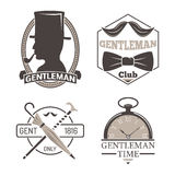 Vintage style design hipster gentleman vector illustration badge black silhouette element. Stock Photo