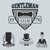 Vintage style design hipster gentleman vector illustration badge black silhouette element. Stock Images