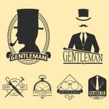 Vintage style design hipster gentleman vector illustration badge black silhouette element. Stock Image