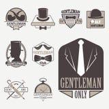 Vintage style design hipster gentleman vector illustration badge black silhouette element. Royalty Free Stock Image