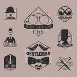 Vintage style design hipster gentleman vector illustration badge black silhouette element. Stock Photography