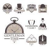 Vintage style design hipster gentleman vector illustration badge black silhouette element. Royalty Free Stock Images