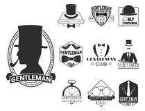 Vintage style design hipster gentleman vector illustration badge black silhouette element. Vintage style design hipster gentleman logo vector illustration badge Royalty Free Stock Photos