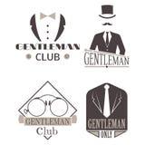 Vintage style design hipster gentleman vector illustration badge black silhouette element. Royalty Free Stock Photos
