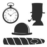 Vintage style design hipster gentleman vector illustration black silhouette design mustache element. Stock Image