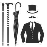 Vintage style design hipster gentleman vector illustration black silhouette design mustache element. Royalty Free Stock Images