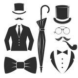 Vintage style design hipster gentleman vector illustration black silhouette design mustache element. Stock Photos