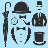 Vintage style design hipster gentleman vector illustration black silhouette design mustache element. Royalty Free Stock Photography