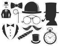 Vintage style design hipster gentleman vector illustration black silhouette design mustache element. Stock Images
