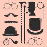 Vintage style design hipster gentleman vector illustration black silhouette design mustache element. Royalty Free Stock Photos