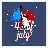 Vintage style design with Statue of Liberty on grungy blue background. 4th of July, Independence Day concept. royalty free illustration