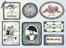 Vintage style doodle labels Stock Images