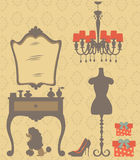 Vintage style dressing room. An illustration of vintage style dressing room royalty free illustration