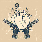 Vintage style emblem with human heart and two Royalty Free Stock Image