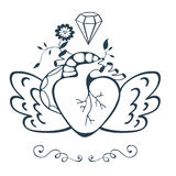 Vintage style emblem with human heart with wings. Vector illustration Stock Photo
