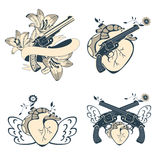 Vintage style emblems with human hearts, flowers Royalty Free Stock Photos