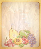 Vintage style empty paper backdrop with graphic illustration of assorted fruits. Stock Image