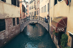 Vintage style european old architecture with canal in Venice, Italy. Venice, Italy - August 19, 2016 : vintage style european old architecture with canal Royalty Free Stock Photography
